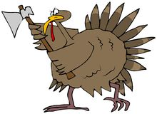 Angry Turkey With An Axe Stock Photos