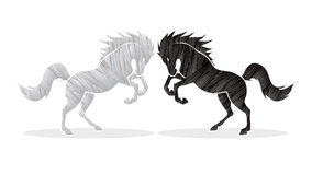 Angry twin horse Royalty Free Stock Image