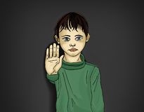 Angry and unhappy boy showing hand sign enough. Against violence Royalty Free Stock Photos