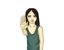 Angry and unhappy girl showing hand sign enough.Against violence Stock Images