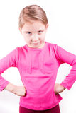 Angry unhappy little girl. Isolated on white background Stock Photography