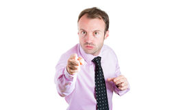 Angry, unhappy man, boss, executive, manager, worker, pointing at someone Stock Images