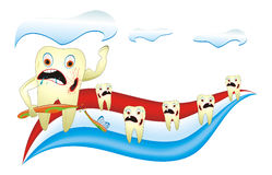 Angry Unhealthy Teeth With Toothbrush. Cartoon illustration from teeth care concept, angry, unhealthy teeth with toothbrush Royalty Free Stock Images