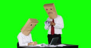 Unidentified businessman scolding his worker on desk stock video footage