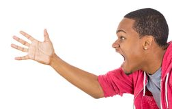 Angry upset man with hand in the air, yeling Stock Images