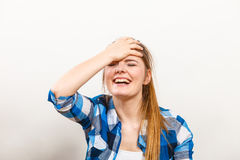 Angry upset woman girl crying. Stock Images