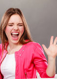 Angry upset woman girl crying. Royalty Free Stock Photography