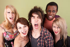 Angry urban teens shout at the camera. Royalty Free Stock Photos