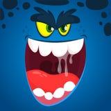 Angry vector cartoon monster face illustration. Vector Halloween blue zombie monster design stock photos