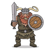 Angry Viking stand with sword and shield Stock Photo