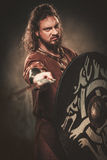 Angry viking with sword in a traditional warrior clothes, posing on a dark background. Stock Photos