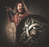 Angry viking with sword in a traditional warrior clothes, posing on a dark background. Royalty Free Stock Photography
