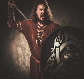 Angry viking with sword in a traditional warrior clothes, posing on a dark background. Stock Image