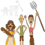 Angry Villagers. An image of a group of angry people Stock Images