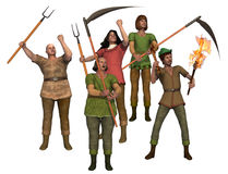 Angry villagers with pitchforks. Metaphor for intolerance a group of angry villagers with pitchforks form a lynch mob Stock Photos
