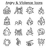 Angry & Violence icon set in thin lines style. Vector illustration graphic design Royalty Free Stock Photo
