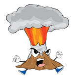 Angry volcano cartoon Royalty Free Stock Image