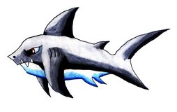 Angry Watercolor Shark royalty free illustration