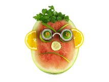 Angry watermelon,isolated Royalty Free Stock Images