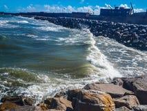 Angry waves hitting stock image