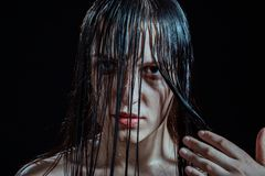 Angry wet woman Royalty Free Stock Photography
