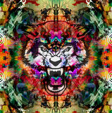 Angry wolf head. On colorful abstract background Royalty Free Stock Photography