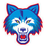 Angry wolf head mascot stock illustration