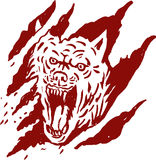 Angry wolf paw tear scratch mark royalty free illustration