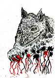 Angry Wolf Sketch Royalty Free Stock Images