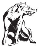 Angry Wolf Tattoo design. Black Angry wolf tattoo design Stock Images