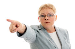 Angry woman. Pointing you angry woman, white background stock photos
