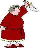Angry woman 3. This illustration depicts an angry woman with a raised knife Royalty Free Stock Photo