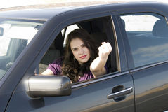Angry woman. In her car Royalty Free Stock Photos