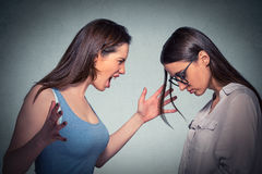 Angry woman abusing screaming at another scared nerdy one in glasses Stock Photography