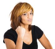 Angry woman all set to punch Stock Image