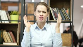Angry Woman Arguing, Yelling, Indoor Office. Beautiful interior stock video