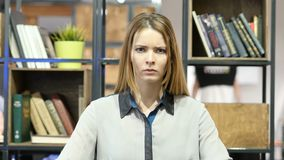 Angry Woman Arguing, Yelling, Indoor Office. Beautiful interior stock footage