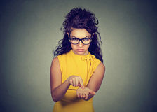 Angry woman asking for more money, pay back debt Royalty Free Stock Photo