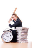 Angry woman with baseball bat Stock Photo