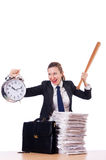 Angry woman with baseball bat under stress Royalty Free Stock Photos