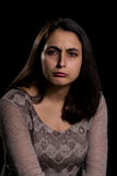 Angry woman on black background Royalty Free Stock Photos