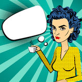 Angry woman blue hair pop art drinking coffee Royalty Free Stock Photography