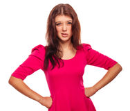 Angry woman brunette girl does not understand Stock Photo