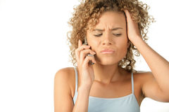 Angry woman calling Royalty Free Stock Photography