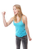 Angry woman with clenched fist Stock Photo