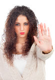 Angry woman with curly hair saying Stop Royalty Free Stock Photos