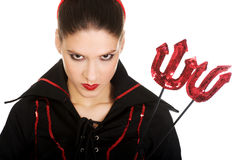 Angry woman in devil carnival costume. Royalty Free Stock Photography