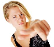 Angry Woman In Dress On White Stock Images