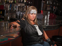 Angry Woman with Drink Stock Photo