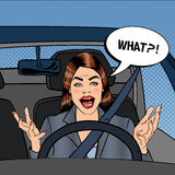 Angry Woman Driver. Aggressive Woman Driving Car. Pop Art Royalty Free Stock Photos